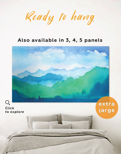 Watercolor Mountains Wall Art Canvas Print - 1 panel bedroom blue and green wall art landscape wall art Living Room