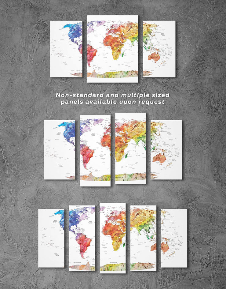 Watercolor Travel Map Wall Art Canvas Print - 1 panel bedroom contemporary wall art corkboard map of the world labeled