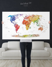 Watercolor Travel Map Wall Art Canvas Print