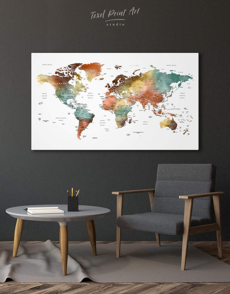 Watercolor World Map Wall Art Canvas Print - 1 panel bedroom Contemporary contemporary wall art corkboard