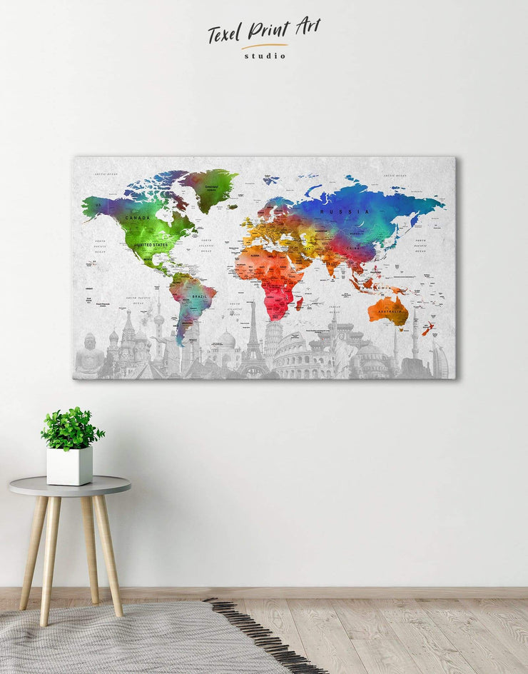 Watercolor World Map Wall Art Canvas Print - 1 panel corkboard Living Room map of the world labeled modern wall art