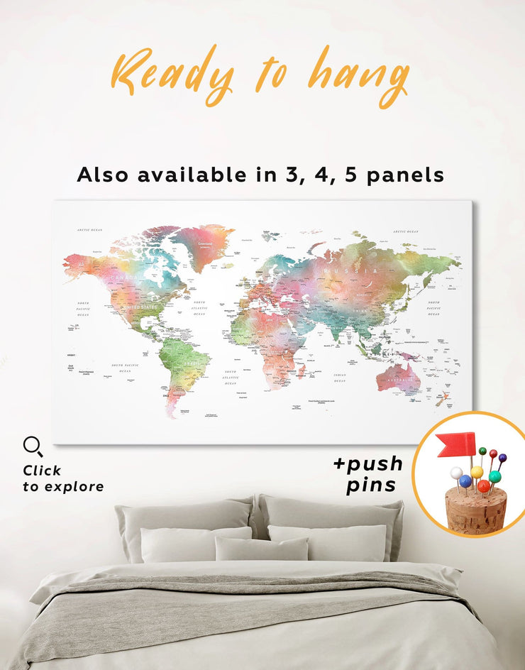 Watercolor World Travel Map Wall Art Canvas Print - 1 panel corkboard Labeled world map Living Room Office Wall Art