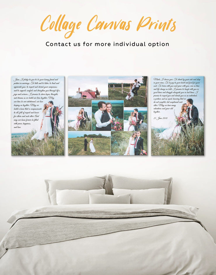 Wedding Gift Collage Wall Art Canvas Print - 1 panel bedroom Family Living Room personalized wall art for couples