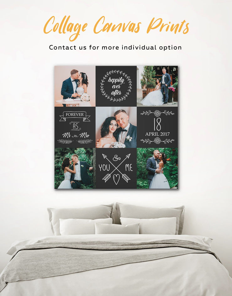 Wedding Photo Collage Wall Art Canvas Print - 1 panel bedroom Family Living Room personalized wall art for couples