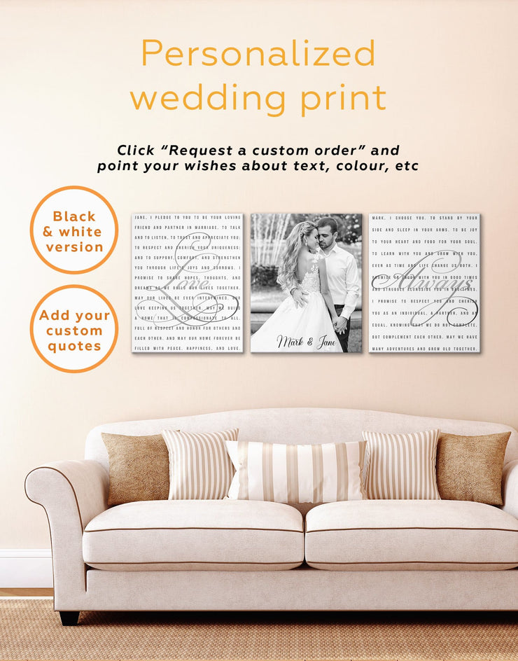Wedding Vows Photo Collage Wall Art Canvas Print - 1 panel bedroom Family Living Room personalized wall art for couples