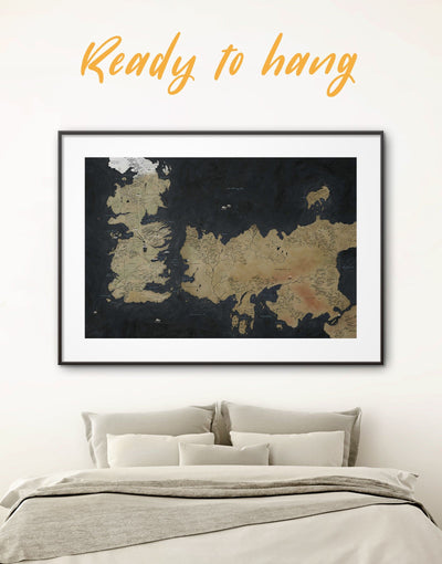 Westeros Map Framed Poster GOT Wall Art Print - bedroom Black black framed wall art Brown brown framed wall art