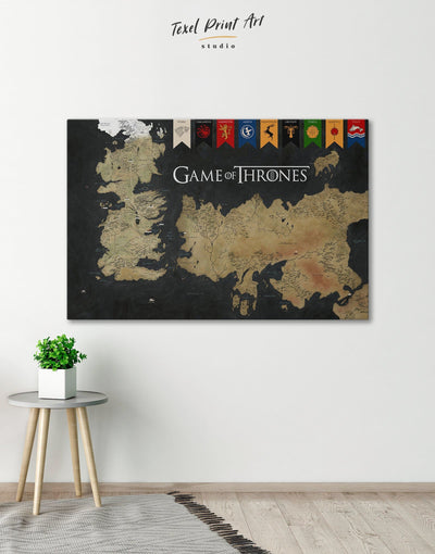 Westeros Map with House Flags Wall Art Canvas Print - 1 panel bedroom black and gold wall art Dining room dining room wall art