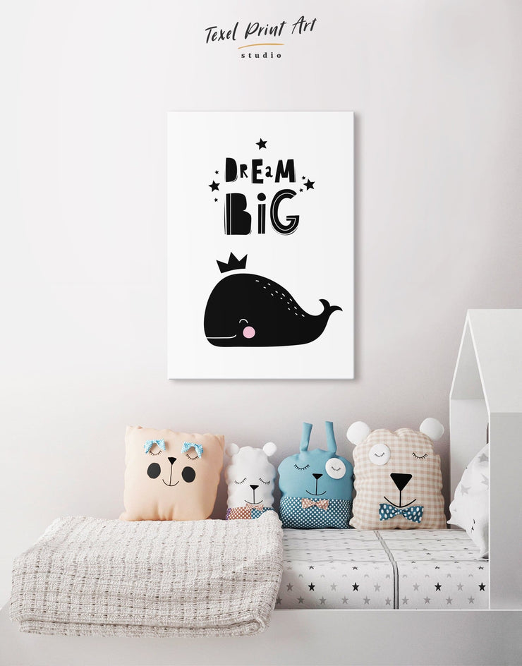 Whale Nursery Wall Decor Canvas - Canvas Wall Art 1 panel black Kids room kids wall art Nursery
