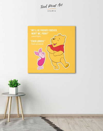 Winnie the Pooh Quote Wall Art Canvas Print - Canvas Wall Art 1 panel bedroom Hallway inspirational wall art Kids room