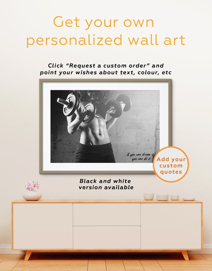 Workout Girl Wall Art Framed Print - Brown framed print framed wall art framed wall art for living room Home Gym