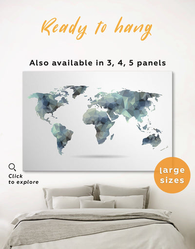 World Map Abstract Wall Art Canvas Print - 1 panel Abstract Abstract map abstract world map wall art Geometric