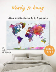 World Map Colorful Wall Art Canvas Print