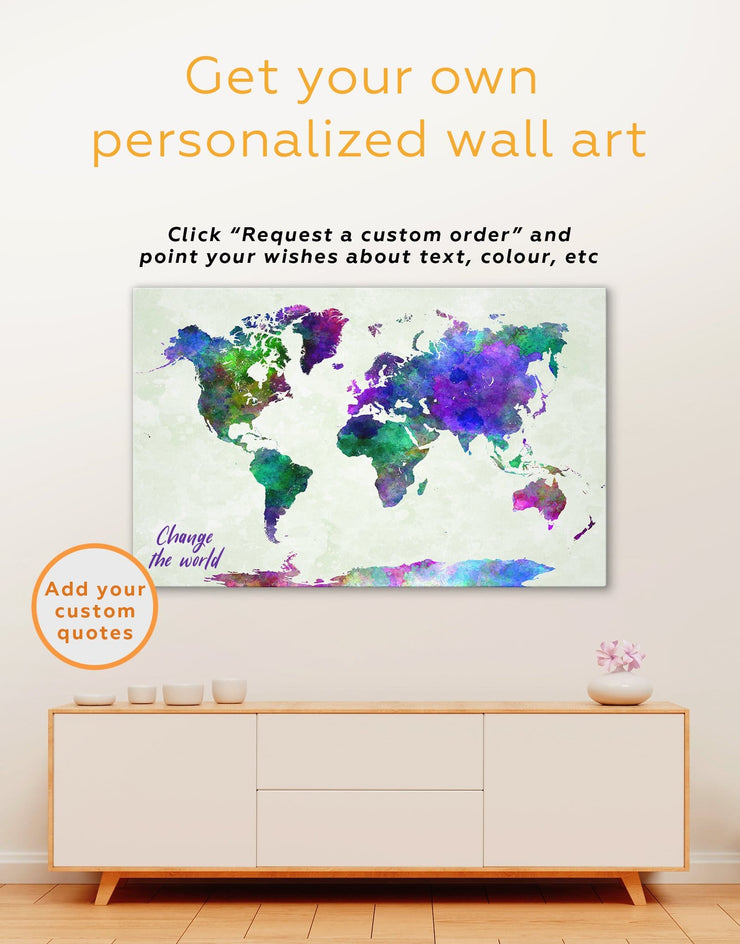 World Map Colorful Wall Art Canvas Print - 1 panel Abstract map abstract world map wall art bedroom Living Room