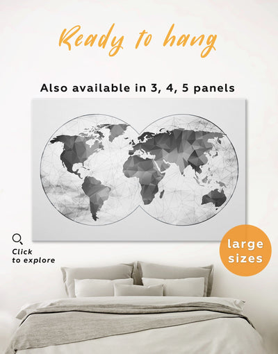 World Map Gray Wall Art Canvas Print - 1 panel Abstract map abstract world map wall art bedroom Contemporary