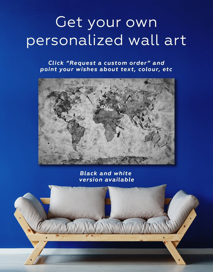 World Map Rustic Wall Art Canvas Print - 1 panel Abstract Abstract map abstract world map wall art living room wall art
