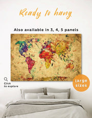 World Map Rustic Wall Art Canvas Print