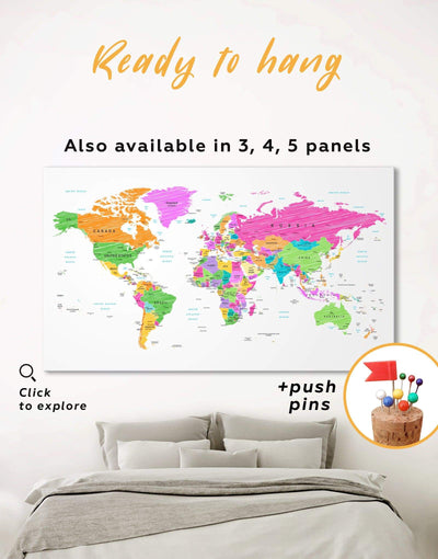 World Map Wall Art Canvas Print - 1 panel bedroom contemporary wall art corkboard map of the world labeled