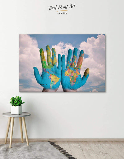 World Map Wall Art Canvas Print - Canvas Wall Art 1 panel Blue Contemporary Hallway Living Room