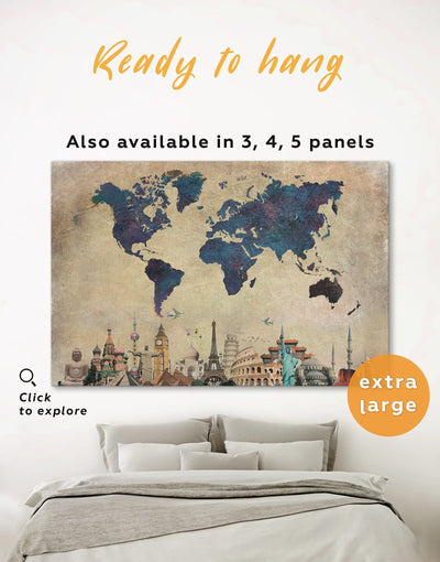 World Map With Attractions Wall Art Canvas Print - 1 panel Abstract map Blue blue wall art for bedroom Blue wall art for living room