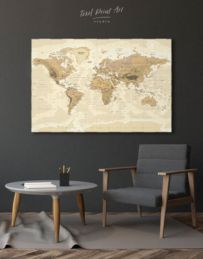 World Pushpin Map Wall Art Canvas Print - 1 panel bedroom Brown Living Room Office Wall Art
