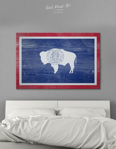 Wyoming Flag Wall Art Canvas Print - 1 panel blue flag wall art Living Room Office Wall Art