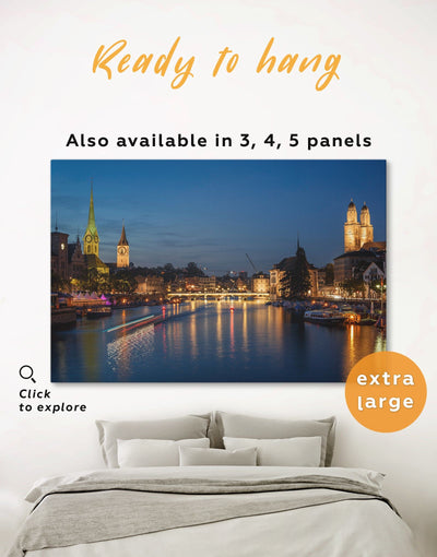 Zurich Wall Art Canvas Print - 1 panel City Skyline Wall Art Cityscape Living Room Office Wall Art