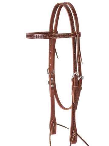 Weaver Barbed Wire Browband Headstall Brown