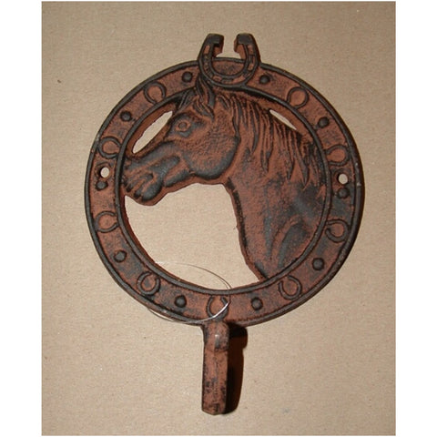 CAST IRON HORSE HEAD SNGL WALL HOOK