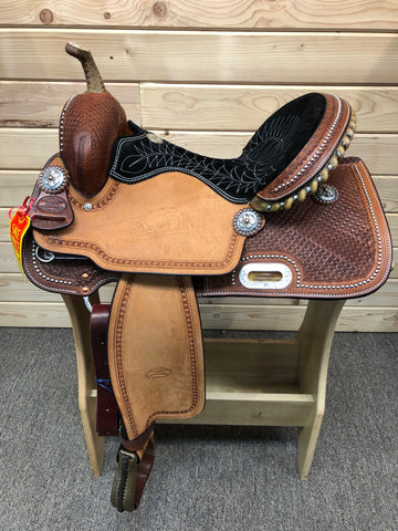 "Billy Cook CJ Barrel Saddle With Spots- 15""-16"""