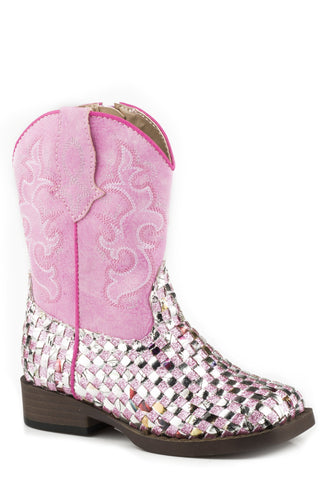 Roper Girls Toddler Pink Multi-Color Glitter Western Boots