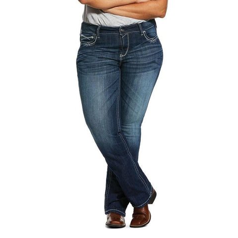 Ariat Womens R.E.A.L. Mid Rise Stretch Entwined Plus Size Bootcut Jean