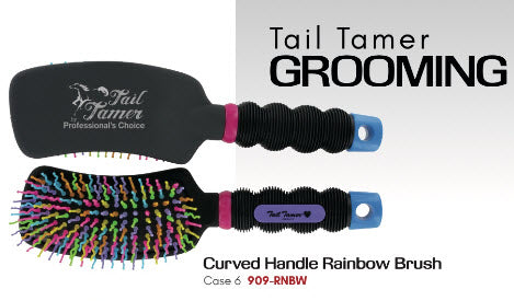 Pro Choice Tail Tamer Curved Handle Rainbow Brush