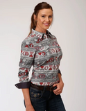 Roper Womens Aztec Print Shirt Gray/Red
