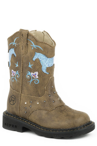Roper Little Girls All Over Tan with Lights/Studs Western Boots