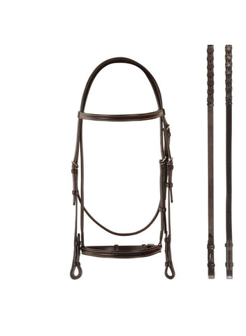 Bobby's Havana Raised Snaffle Bridle With Reins