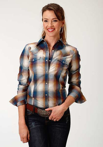 Roper Women's Brass Plaid Snap Front Shirt