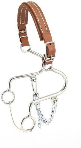 "Reinsman Little ""S"" Flat Double Buckle Leather Hackamore"