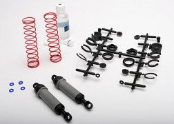TRX 3762A Ultra Shocks (grey) (xx-long) (complete w/ spring pre-load spacers & springs) (rear) (2)
