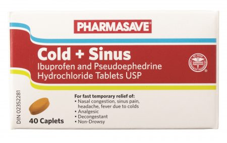 PHARMASAVE COLD + SINUS 40 CAPLETS