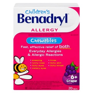 BENADRYL CHILDREN'S CHEWABLE GRAPE TABLETS 20 TABLETS