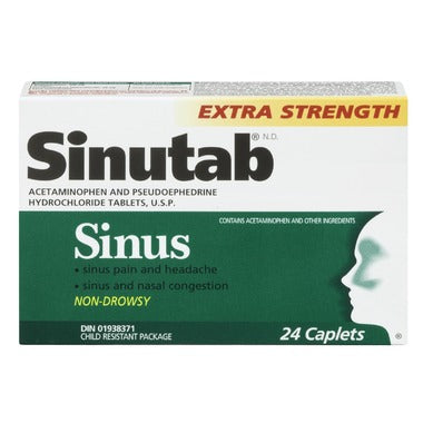 SINUTAB SINUS DAY EXTRA STRENGTH 24 CAPLETS