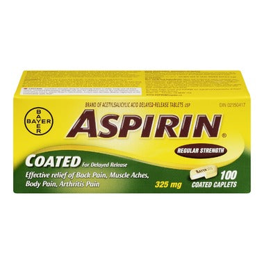 ASPIRIN COATED 325mg 100 CAPLETS