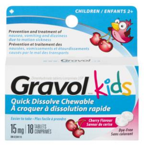 GRAVOL KIDS 15MG QUICK DISSOLVE CHEWABLE 18 TABLETS
