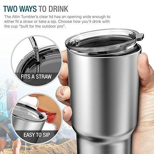 Atlin Tumbler [30 oz. Double Wall Stainless Steel Vacuum Insulation] Travel Mug [Crystal Clear Lid] Water Coffee Cup [Straw Included]For Home,Office,School - Works Great for Ice Drink, Hot Beverage Atlin Sports