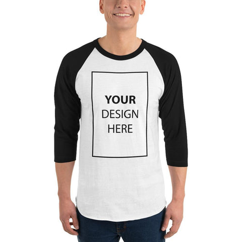 White/Black / XS Customize your 3/4 sleeve raglan shirt Kadance Shop