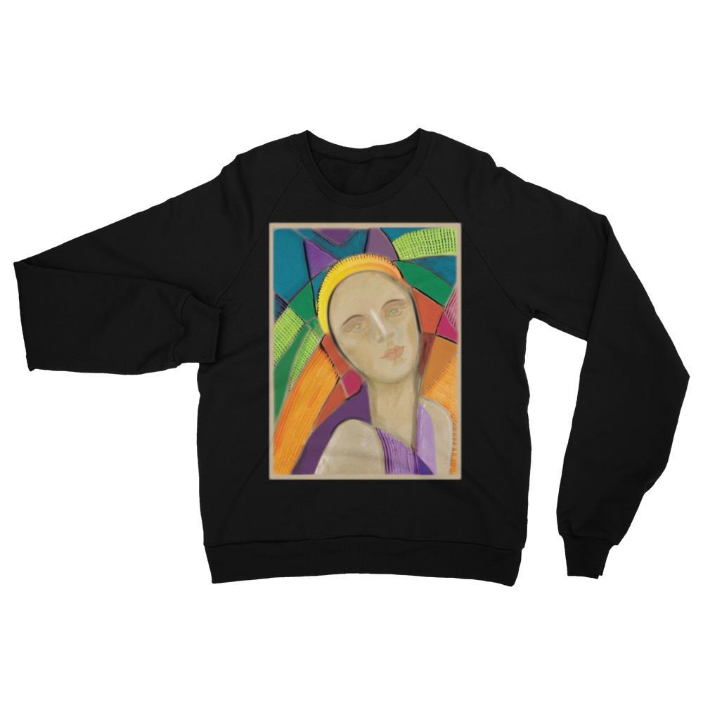 S Eva model Unisex California Fleece Raglan Sweatshirt Kadance Shop