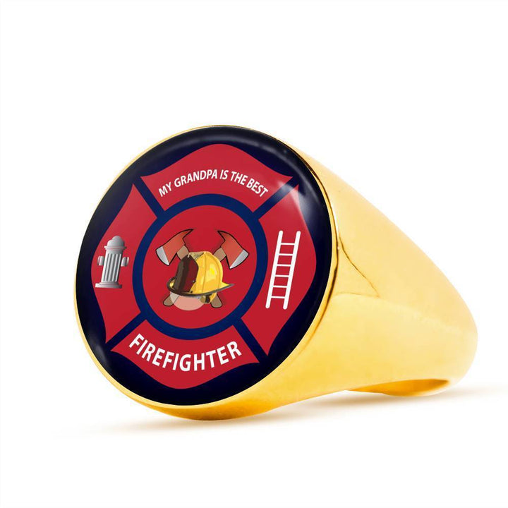 Ring 18K Gold Finish Signet Ring Firefighter, My Grandpa is the Best, Silver or Gold Ring | Kadance shop