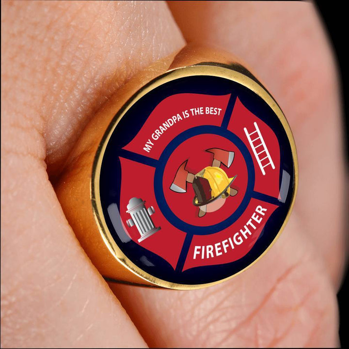 Ring Firefighter, My Grandpa is the Best, Silver or Gold Ring | Kadance shop