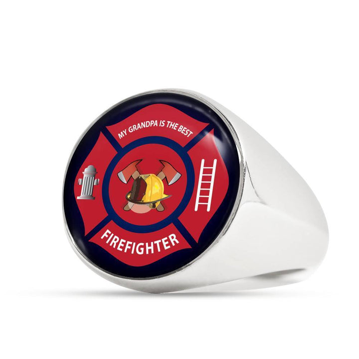 Ring Stainless Steel Signet Ring Firefighter, My Grandpa is the Best, Silver or Gold Ring | Kadance shop