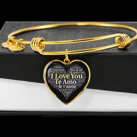 I Love You in 100 Languages | Jewelry Heart Pendant Gold Bangle | Kadance Shop